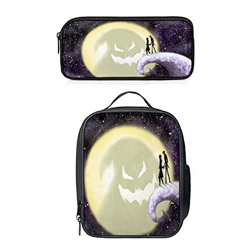 SARA NELL Unique Stylish Octopus Tail Halloween Couple Pumpkin Moon Face insulated Lunch Bag Luch Backpack Lunch Tote Cross-body Bag Pen Case Gift 2pcs(Lunch Bag+Pen Bag) ()