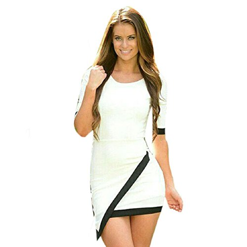 Lookatool Sexy Women Summer Bandage Bodycon Evening Party Irregular Mini Dress (L, White)