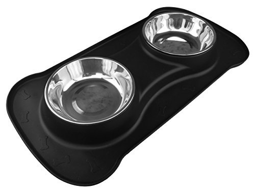 Comedero doble para perros y gatos, con dos cuencos de acero inoxidable y alfombrilla integrada   Calidad PREMIUM   Happilax (M, Negro)