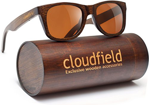CLOUDFIELD Wood Polarized Sunglasses Wayfarer Style - 100% UV Protection, Bamboo Wooden - Nose Best Glasses For Asian