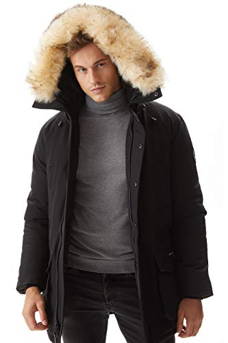 Molemsx Winter Thicken Club Outdoor Jacket, Men's Waterproof Heavyweight Parka Jacket with Trim Faux Fur Hood Lined Down Alternative Skiing Mountain Coat for Cold Weather, Black X-Large