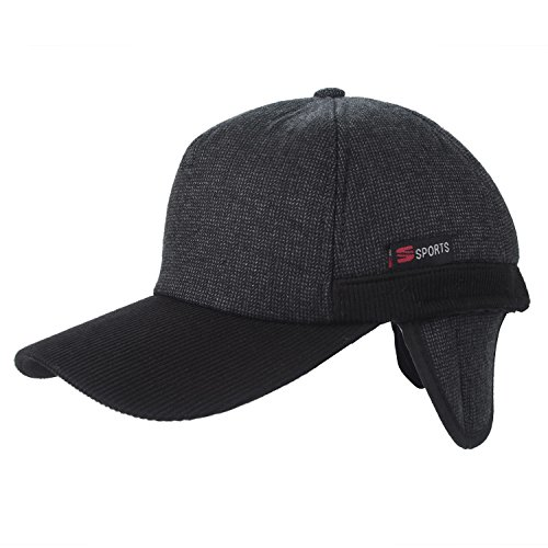 Flammi Men's Winter Fleece-Lined Earflap Visor Hat Adjustable Baseball Cap (Fold Down Earflaps)