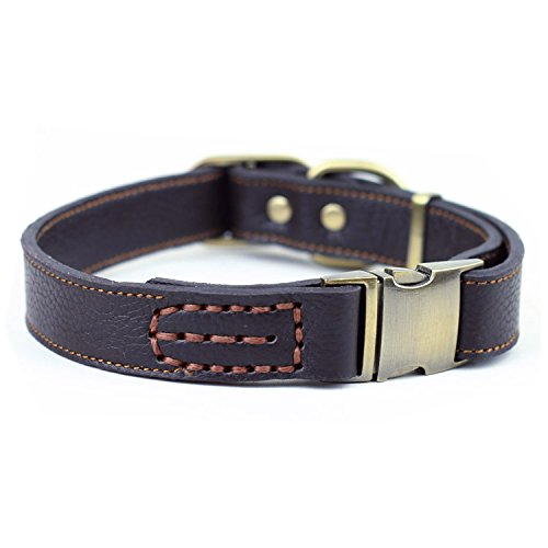 CHEDE Luxury Real Leather Dog Collar- Handmade For Medium And Large Dog Breeds With The Finest Genuine Leather-Best Quality Collar That Is Stylish ,Soft Strong And Comfortable-Brown Dog Collar
