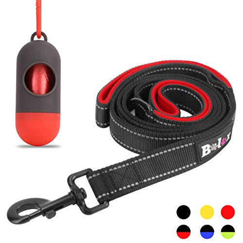 Bolux Traffic Control Dual Padded Handle Heavy Duty 3M Reflective Dog Leash 5ft Long Training Leash Lead Greater Control Safety Training Perfect for Large Medium Dogs (Black+Red)