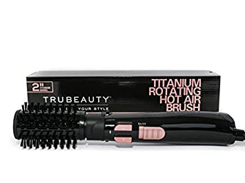 Tru Beauty, Rotating Hot Air Brush, Ceramic Coated 2-inch Barrel, 2-in-1  Blow Dryer and Styler - Titanium