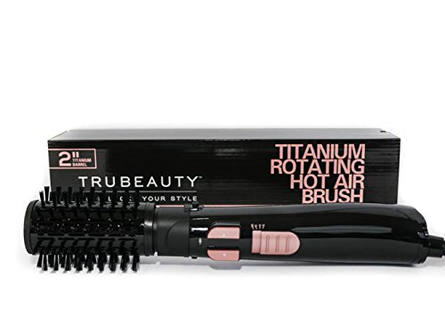 Babyliss Hot Brush - Tru Beauty Rotating Hot Air Brush Hair Dryer [Black], Hair Brush Dryer and Styler, Titanium, Multidirectional, Ceramic-Coated, 2-inch Barrel Hair Dryer Brush