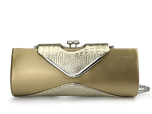 Envelope Croco - Women's Glossy Crocodile Pattern Evening Clutch Bag with Chain Strap Kiss Locked Party Envelope Purse (Gold)