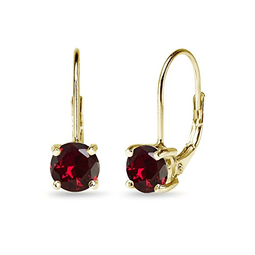Yellow Sterling Silver 6mm Round-Cut Created Ruby Leverback Earrings