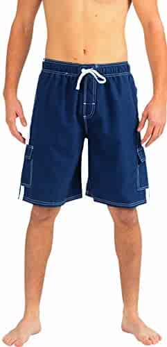 767d455d14 NORTY Mens Swim Trunks - Watershort Swimsuit - Cargo Pockets - Drawstring  Waist - Order One