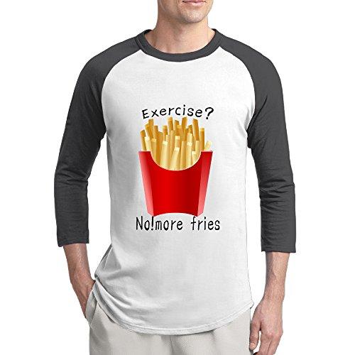 Funny Fries Pattern Mens Cherished Screen-Print 3/4 Sleeve Raglan Shirt Ringspun Casual Shirts