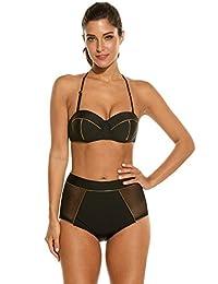 Avidlove Womens Halter Neck Bikini High Waist Vintage Push Up Padded Bra Swimsuit