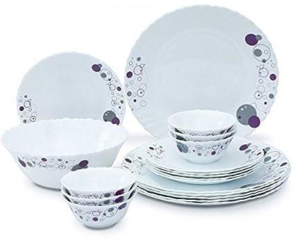 LaOpala Haze Dinner Set, 21-Pieces, White/Purple
