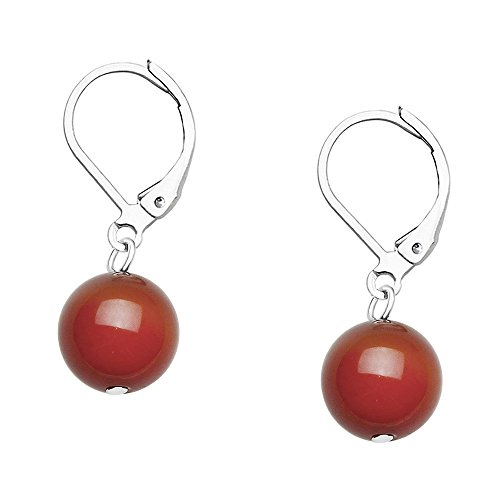 Falari 10mm Round Natural Stone Earring High Polished Rhodium Leverback Red Agate