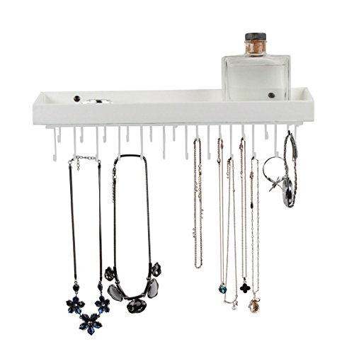 welry Organizer Necklace Hanger Bracelet Holder Wall Mount Necklace Organizer with 23 Hooks(White, 16.38 x 4.88 x 2.93 inches, Unseparated) - :MK208C ()