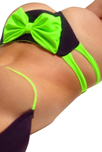 FQHOME Womens Green Brazilian Halter Bikini Swimsuit with Bowknot Accent Size S