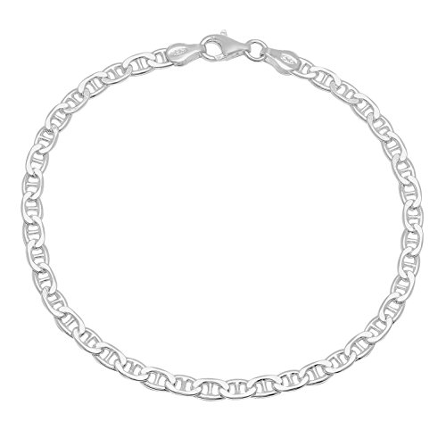 3.5mm Genuine 925 Sterling Silver Nickel-Free Italian Mariner Chain Bracelet, 8 inches + Cleaning Cloth 4mm Silver Mariner Bracelet