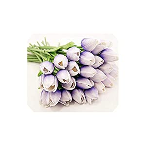 Artificial Tulips 31Pcs/Lot Pu Tulips Real Touch Mini Tulip for Home Wedding,Light Blue,34Cm 49