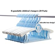 Expandable Children's Hangers (Blue) Set of 20 Value Pack | Infant, Toddler, Baby, Kids to Teen size | Expands from 11 to 14.5 inches in width | Fun Bear Design! | Non-slip | Durable | Long Lasting!