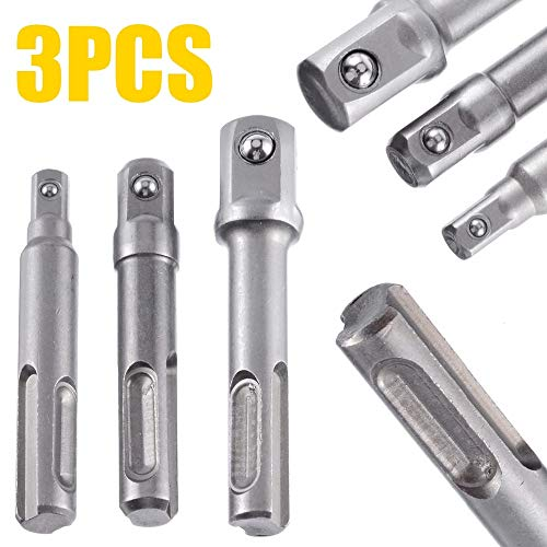 DORATA - 3Pcs 1/2'' 3/8'' 1/4'' Sds Drill Bits Socket Nut Driver Adapter Mini Drill Bit Chuck For Sds Plus Hammer Drills 1/2' Sds Plus Hammer