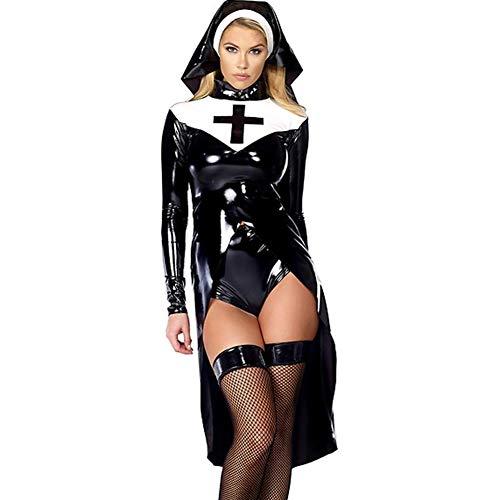 Wonder Pretty Saintlike Seductress Costume Sexy Vinyl Nun Halloween Costume Fancy Dress Black -