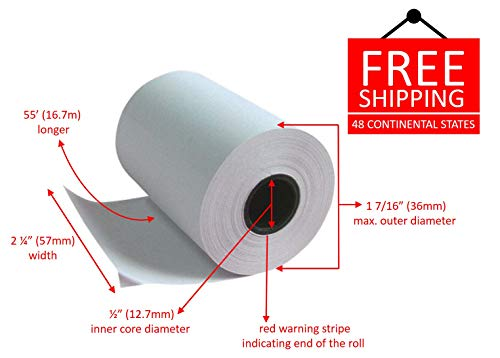One Roll Contains 50' (Munbyn 58mm Thermal Printer Receipt Paper Roll - 2 1/4 x 55 (Pack 10 rolls))