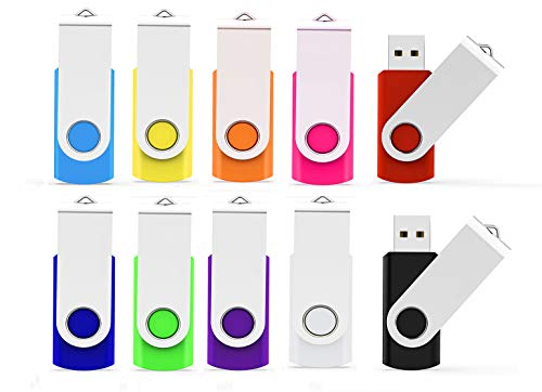 USB Flash Drive 16GB 10 Pack, ALMEMO USB Thumb Drive 2.0 High Speed USB Thumb Drive Memory Stick Jump Drive Zip Drives Pen Drive, 16 GB, 10 Colors