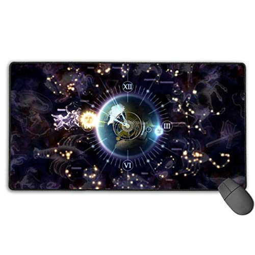 Extended Gaming Mouse Pad, Anti-Slip Rectangle Rubber Mousepad, 29.53 X 15.75 Inch XXL Computer Mat with Zodiac Clock 3D Screensaver