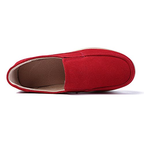 Shoes Platform Wedge Karen Wide Top Moccasins On Comfort Suede Low Aon Red Slip Women Loafers fF1BTqw