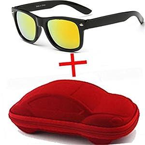 nboba Children UV400 Sunglasses kids Children Cool Sun Glasses 100% UV Protection Eyeglasses Sunglasses For Travel Boy Girl With Case orange and red case