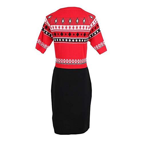 A Mujer Color De Tyery Rayas Cuello Redondo Fino Punto Block Vestido S Para Con Delgado En Rojo 8qSqg6ARw