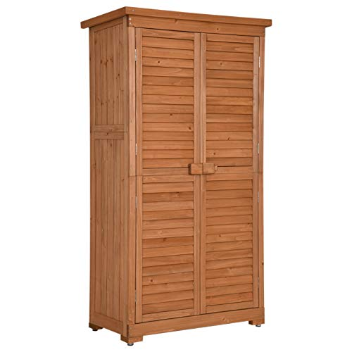 MCombo 63inch Tall Garden Storage Shed Tool Shed Organizer Wooden Tools Shutter Fir Wood Lockers