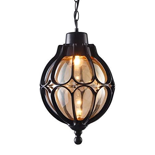 - WSXXN Vintage Pendant Lights Outdoor Waterproof Ceiling Lights Industrial Aluminum Glass Hanging Chandelier Lighting for Porch, Corridor, Villa, Yard, Indoor, E27