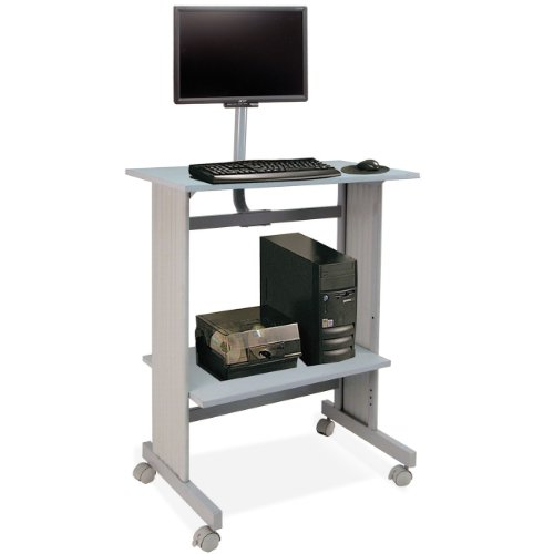 Buddy Products Stand Up Height Workstation with LCD Mount, 20 x 56 x 29 Inches, Gray (6464-18) Buddy Products Printer