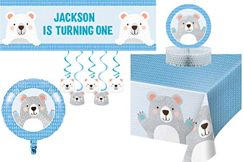 Bear Themed Party Supplies Decorations - Bundle Includes: Customizable Banner, Danglers, Foil Balloon, Centerpiece, and Tablecover in Blue and Gray (Decorations)