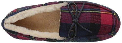 206 Collettiva Donne Pearson Shearling Mocassino Pantofola Plaid Rosso Tessile