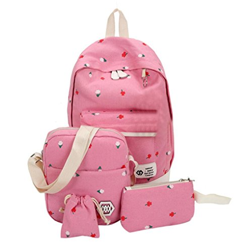 Sets 4PCS Backpack Canvas HCFKJ Shoulder Pink Pouch Girls Drawstring School Kids Students Large Cute Bag Printing AXwSgq