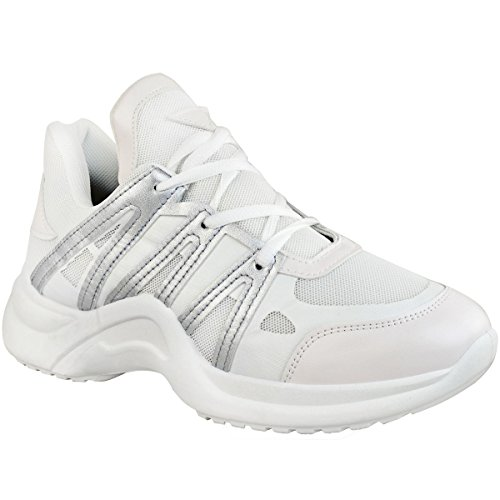 Weiß Dad Mode High Damen Trainer Durstig Chunky Designer Heelberry® Kunstleder Sneakers Arch Weiß Silber Mädchen Gymnastikschuhe qXXrPHgFw