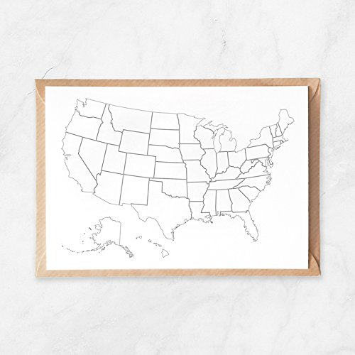 Postcard, Travel Postcard of US Map, Adult Coloring Wanderlust Traveling Stationery Set with United States Map Illustration to Color In, A6 ()