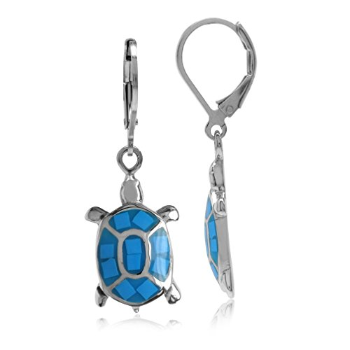 Created Blue Turquoise Inlay White Gold Plated 925 Sterling Silver Turtle Leverback Dangle Earrings (Silver Earrings Sterling Turquoise Turtle)