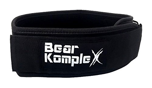 Bear KompleX 4'' Straight Weightlifting Belt for Powerlifting, Squats, Weight Training and More. Low Profile with Super Firm Back for Maximum Stability & Exceptional Comfort. Straight Black XL by Bear KompleX (Image #1)