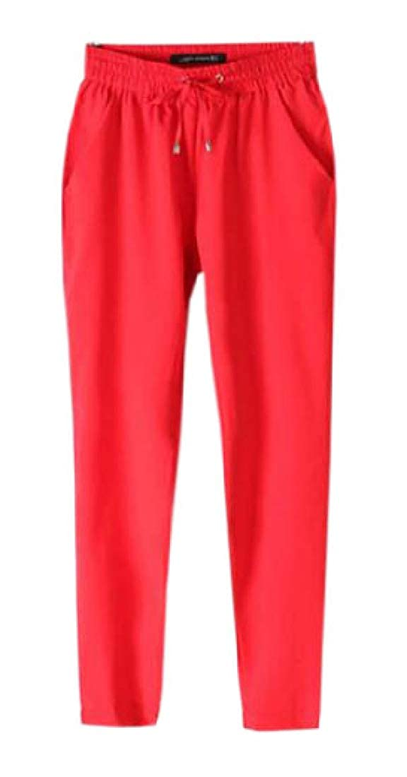 Womens Solid Elastic Drawstring Waist Comfort Fit Harem Pants