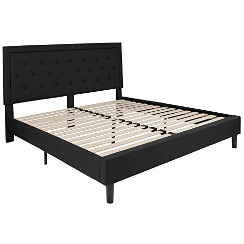 Flash Furniture Roxbury Tufted Upholstered King Size Platform Bed in Black Fabric