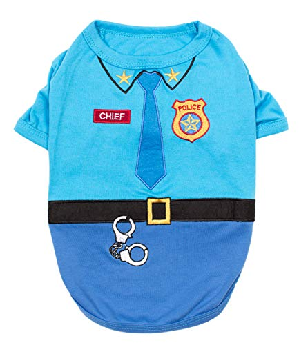 Parisian Pet - Funny Dog Cat Pet Costumes, Shirt Outfits for Halloween - Police, Prisoner, Ketchup, Mustard, Doctor, Firefighter, Sailor, Pirate (Officer Woof - Police Officer, -