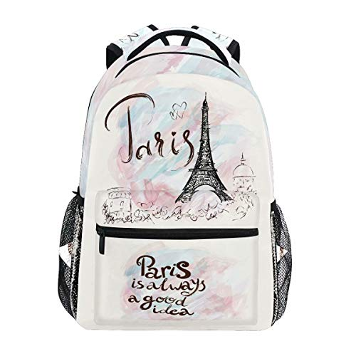 Wamika Eiffel Tower Backpacks for Girls Women, Romantic France Paris Computer Laptop Backpack, Pink Marble Watercolor Kids School Book Bag Casual Travel Hiking Camping Daypack (French Book Bag)