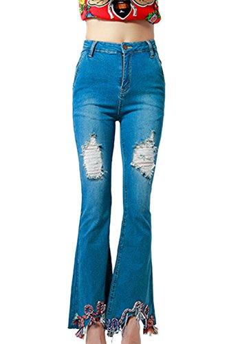 Fanvans De las Mujeres Jeans Tramo Denim Pantalones De Cintura Alta Acampanada Rasgado Azul
