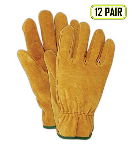 Magid Safety RoadMaster Leather Driver Gloves | Brown Leather Driver Gloves with a Straight Thumb & Slip On Cuff - Gunn Cut Pattern, Unlined, Medium (12 Pairs)
