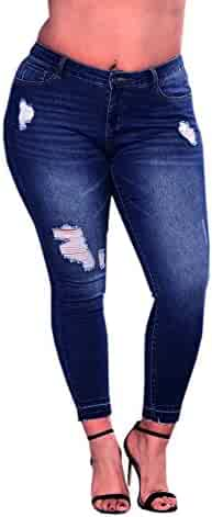 2e238a23af9 Vickyleb Womens Plus Size High Waist Ripped Stretch Slim Denim Ladies  Skinny Pants Jeans Trousers
