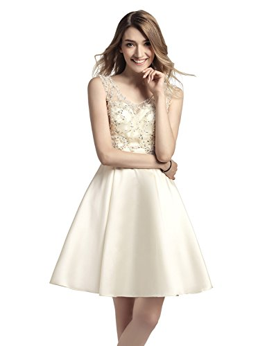 a9e35717a69a Belle House Satin Homecoming Dresses Short 2018 for Juniors Party  Graduation Ball Gowns with Beading A Line Cocktail Dress Ivory