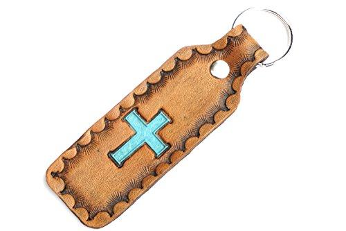 Handmade Leather Keychain   Antique Cross Key Chain Key Fob ()