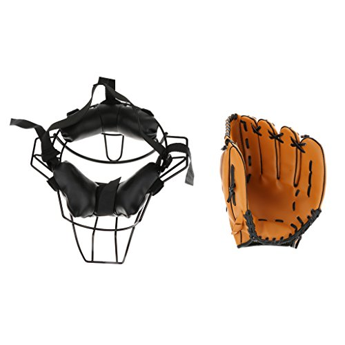 MonkeyJack Baseball Catcher Protective Gear Face Guard Mask + Baseball Glove 10.5inch - Breathable and Comfortable to Wear - Fits for Men and Women by MonkeyJack